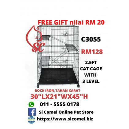 "Cat Cage- 2.5FT With 3 Level Rock Iron 30""Lx21""Wx45""H + FreeGift Nilai RM20 [READY STOCK]"