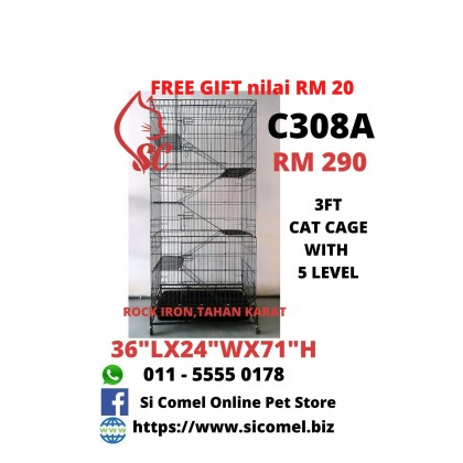 "Cat Cage- 3FT With 5 Level Rock Iron 36""Lx24""Wx71""H + FreeGift Nilai RM20 [READY STOCK]"